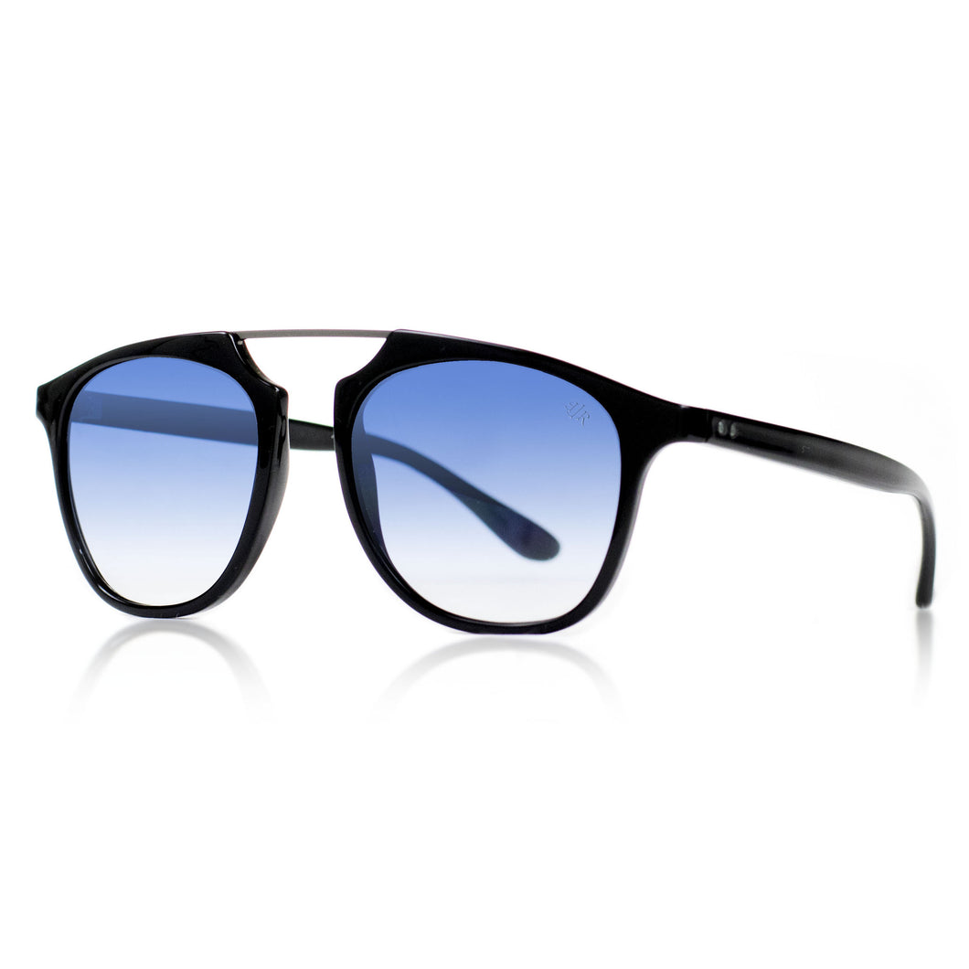 Flare Eyewear round sunglasses with blue gradient lenses and black vintage frame