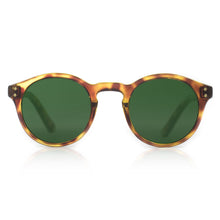 Round hipster sunglasses by Flare Eyewear with green lenses and tortoise frame
