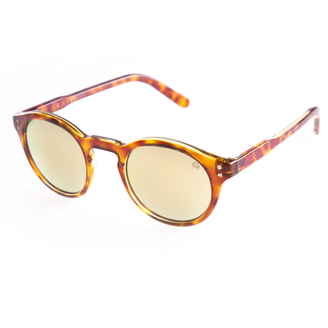 Flare eyewear round hipster sunglasses with mirrored gold lenses
