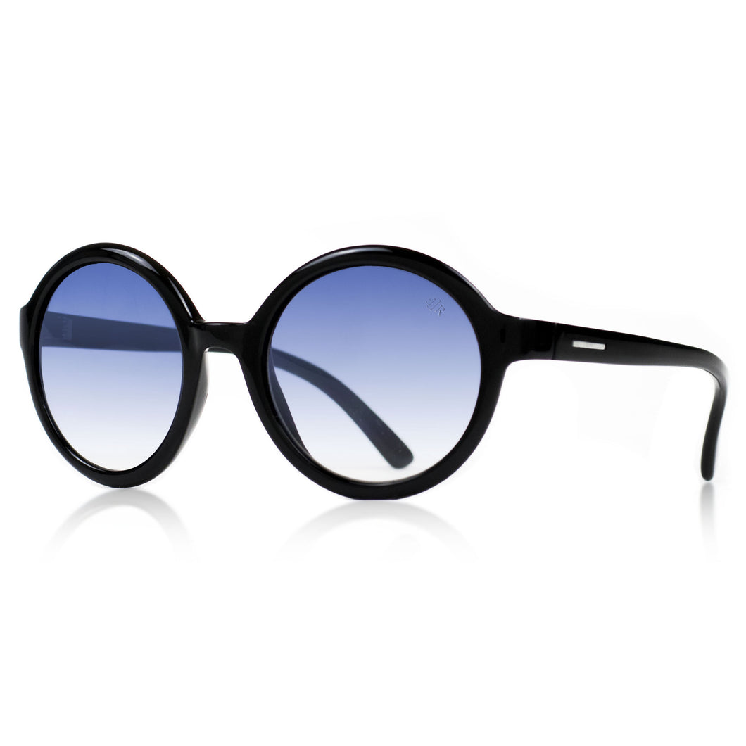 round black sunglasses with gradient blue lenses
