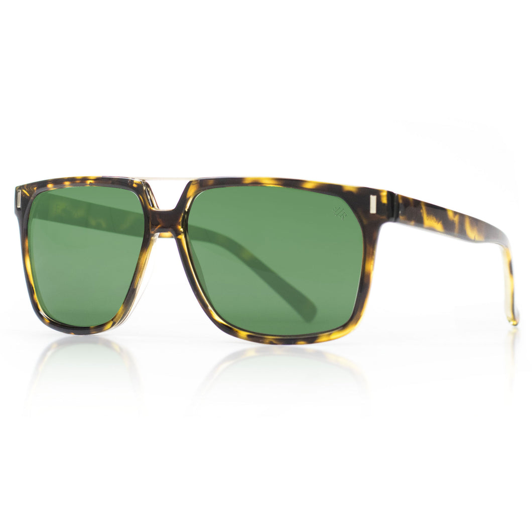 classic squared  tortoise sunglasses with green lenses