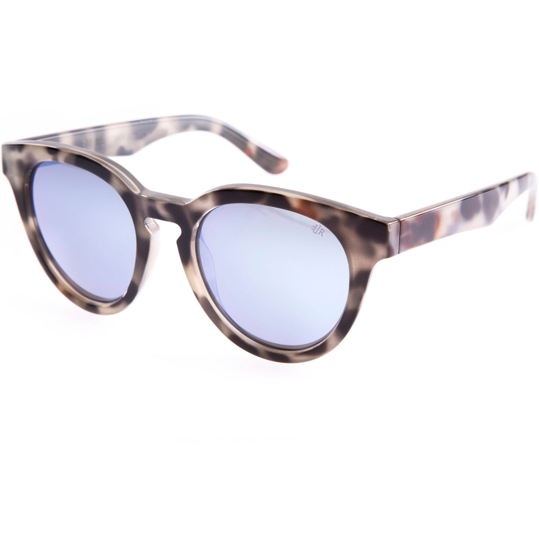 light blue mirrored lenses with a cat eye shape handmade in Italy