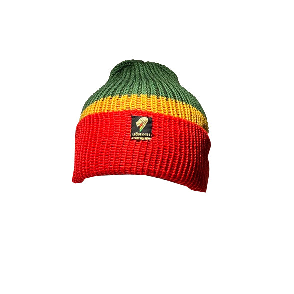 RED GOLD AND GREEN BEANIE