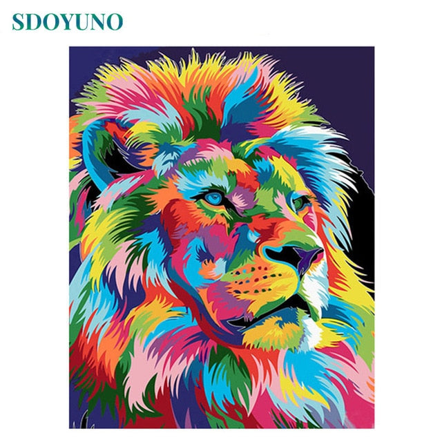 SDOYUNO 60x75cm Frame DIY Painting By Numbers Kits Colorful Lions Animals Hand Painted Oil Paint By Numbers For Home Decor Art