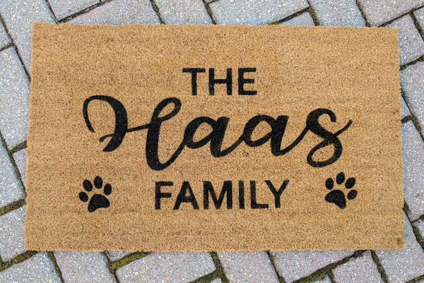 """Family Name"" Doormat with Paw prints!"
