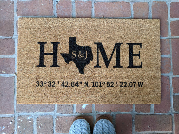 """Texas"" Doormat with coordinates"
