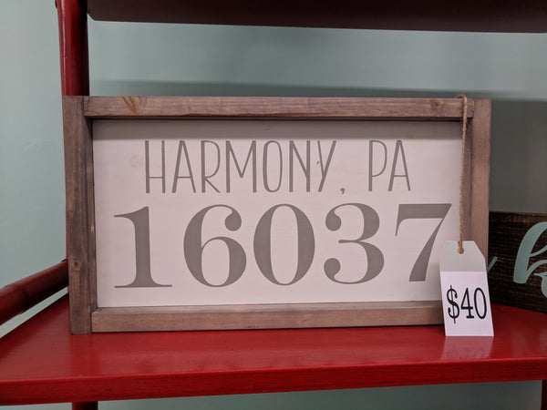 City, State and Zip Code Wood Sign with frame