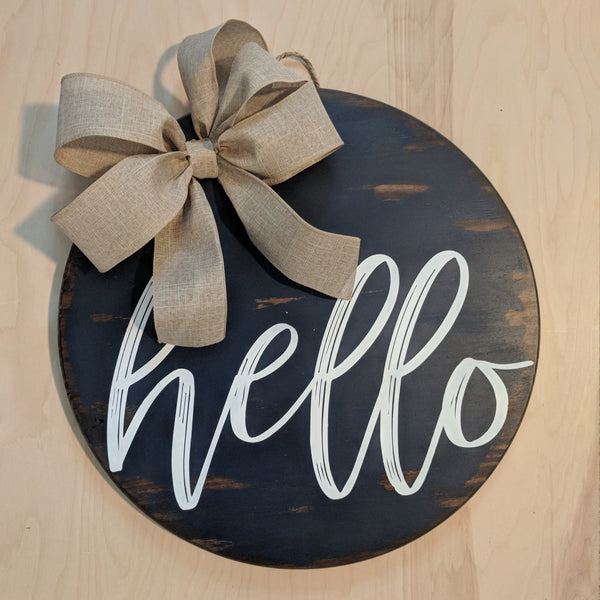 """Hello"" door hanger"