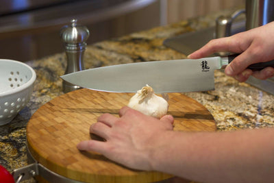 Dragon 10 Inch Chef Knife Cutting Garlic Clove