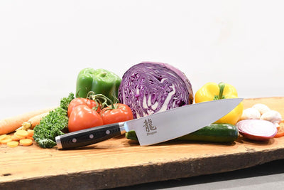 Dragon 8 Inch Chef Knife Lifestyle with Veggies and Board