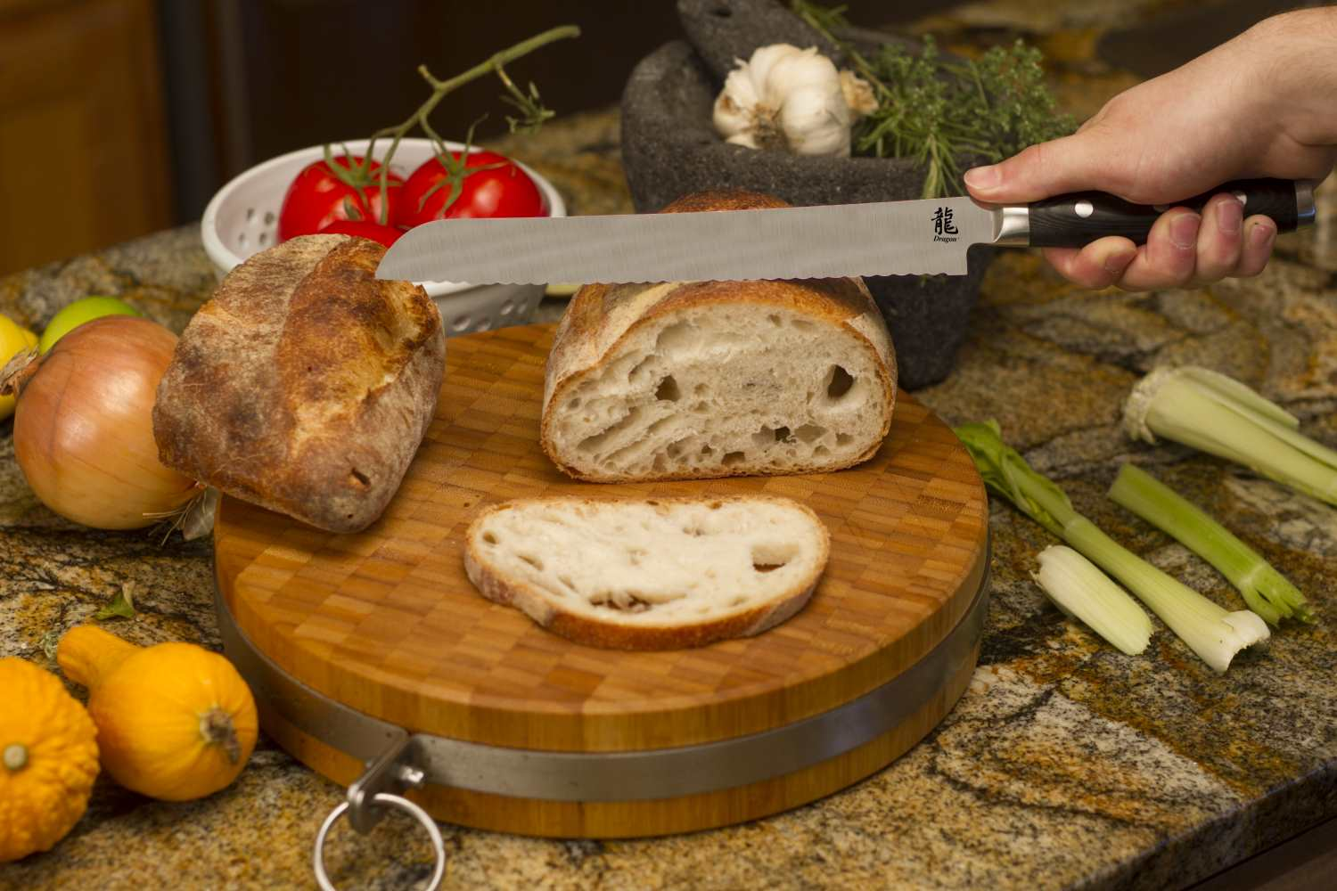 Dragon 9 Inch Bread Knife with Cutting Board Lifestyle