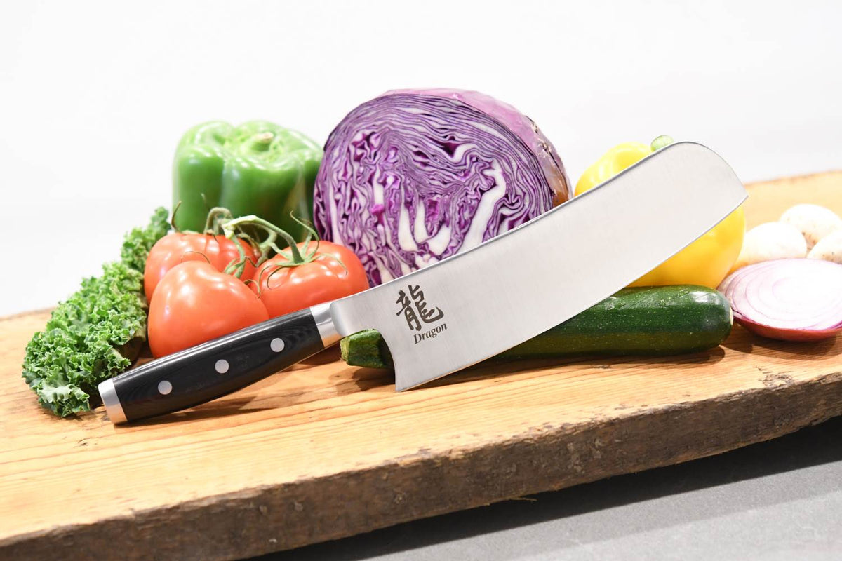Dragon Fusion Knife, Nakiri Chef 8.5 Inch, Lifestyle with Veggies and Board