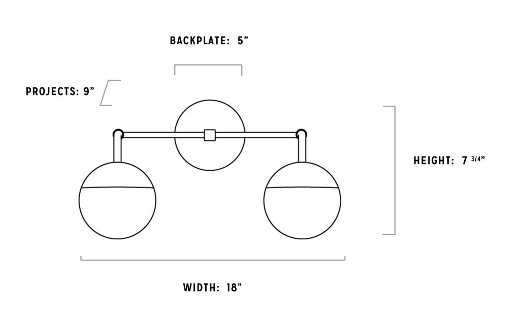 2 Orb Vanity Sconce Diagram
