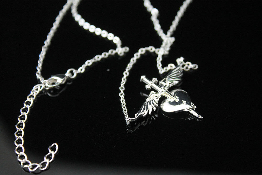 Official bon jovi sterling silver plated heart dagger necklace bon jovi official online store sterling silver dipped brass lobster claw clasp for easy removal aloadofball Image collections