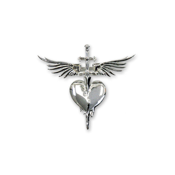 Sterling Silver Plated Heart & Dagger Brooch