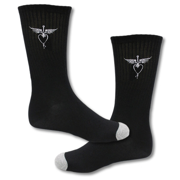 Embroidered Heart & Dagger Socks