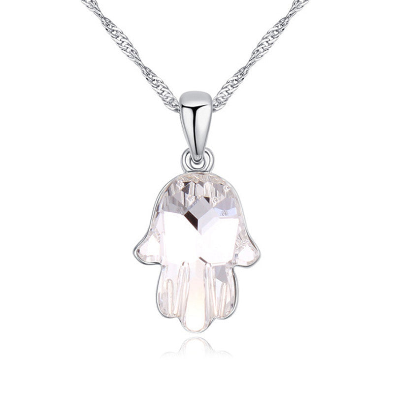 49e069f915b28 Hamsa Hand Swarovski Crystal Necklace