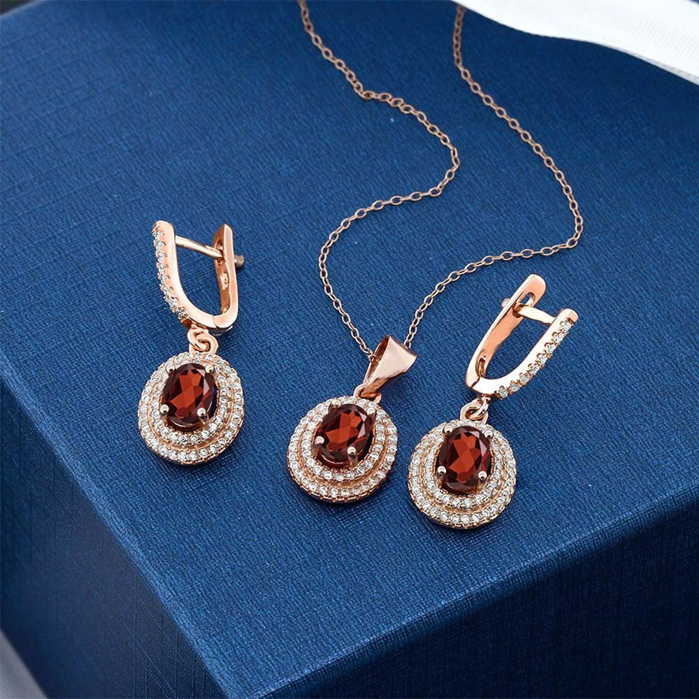 433 ct red garnet 925 rose gold plated silver pendant earrings set 433 ct red garnet 925 rose gold plated silver pendant earrings set aloadofball Images