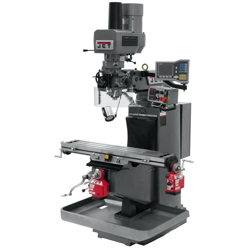 Jet 690513 JTM-949EVS Mill With 3-Axis Knee, Acu-Rite VUE, X & Y Powerfeeds, Air Powered Draw Bar