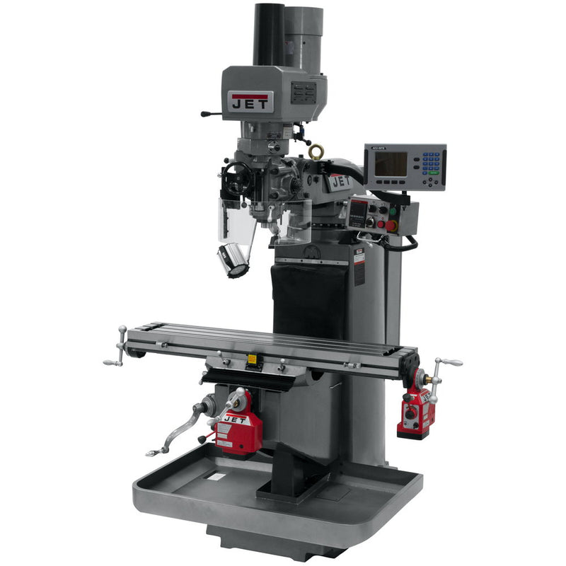 Jet 690528 JTM-949EVS Mill With 3-Axis Knee, Acu-Rite 200S, X & Y Powerfeeds, Air Powered Draw Bar
