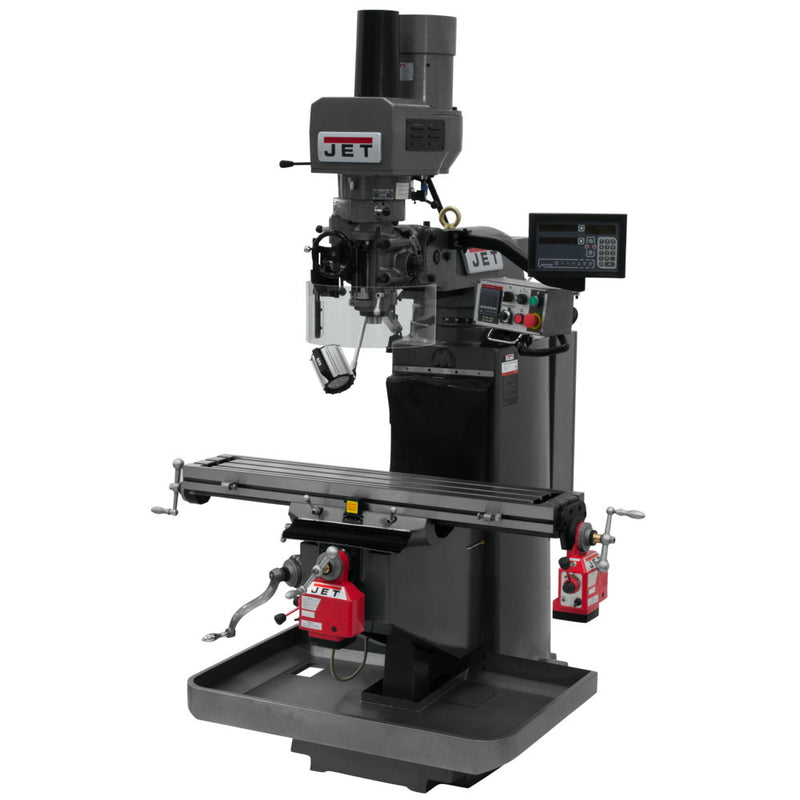 Jet 690548 JTM-949EVS Mill With 3-Axis Quill, Newall DP700, X & Y Powerfeeds, Air Powered Draw Bar