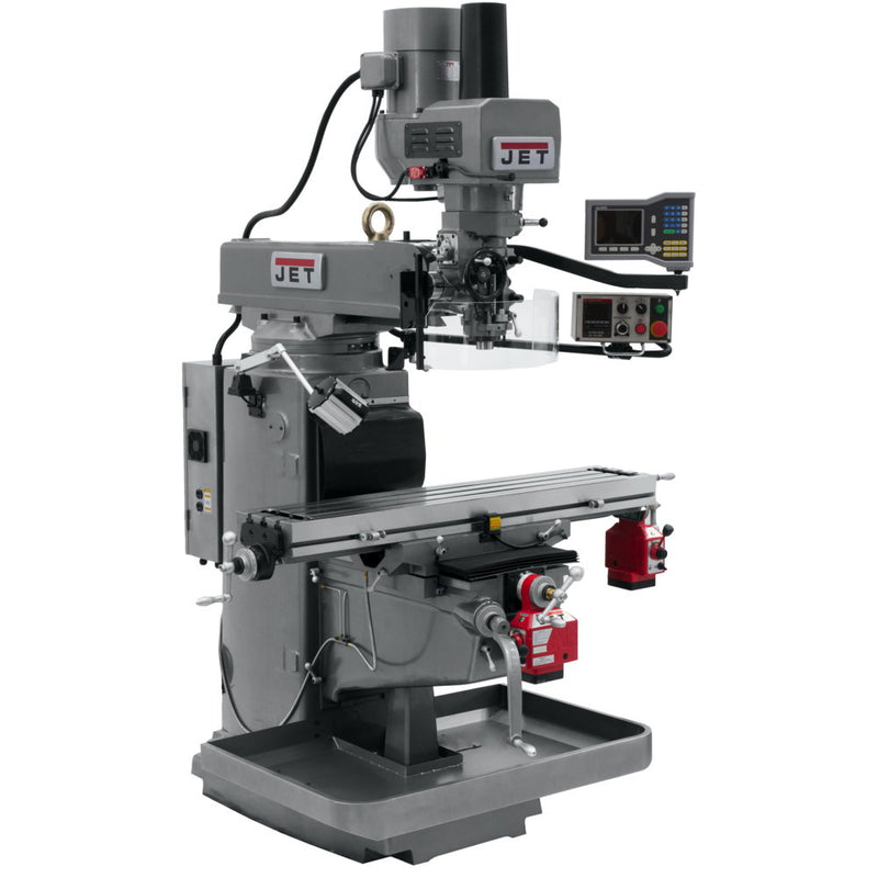 Jet 690617 JTM-1050EVS2 Mill With 3-Axis Quill, AcuRite VUE, X & Y Powerfeeds, Air Powered Draw Bar