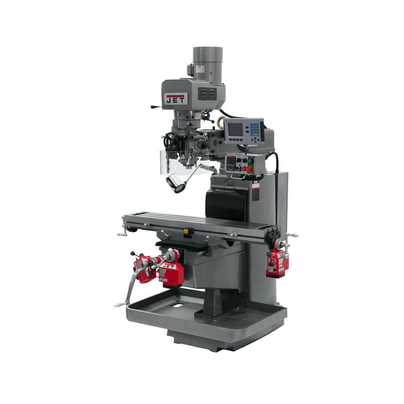 Jet 690628 JTM-1050EVS2/230 Mill With 3-Axis Acu-Rite 200S DRO (Knee) With X, Y and Z Powerfeeds