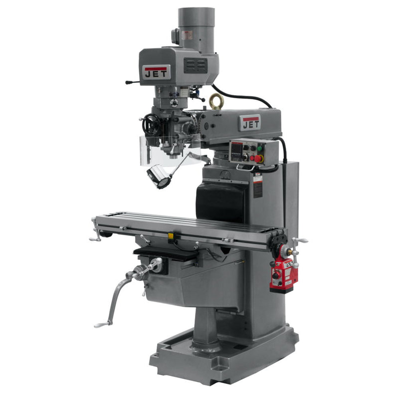 Jet 690642 JTM-1050EVS2 Mill With 3-Axis Knee, Newall DP700, X & Y Powerfeeds, Air Powered Draw Bar