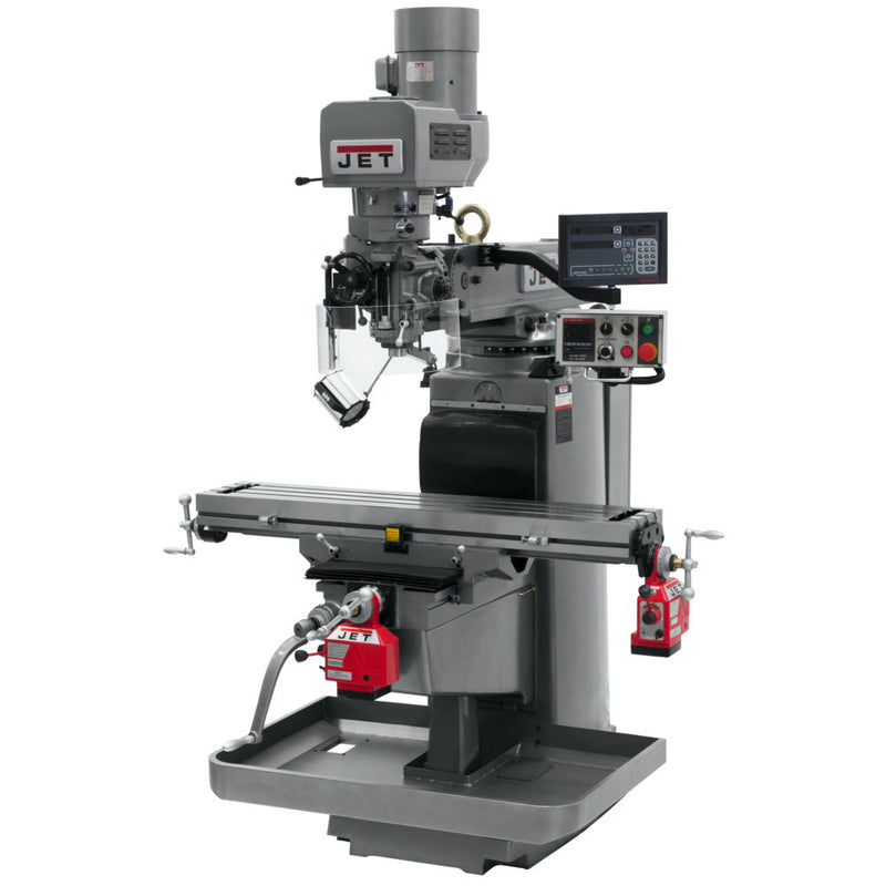Jet 690646 JTM-1050EVS2/230 Mill With 3-Axis Newall DP700 DRO (Quill) With X and Y-Axis Powerfeeds