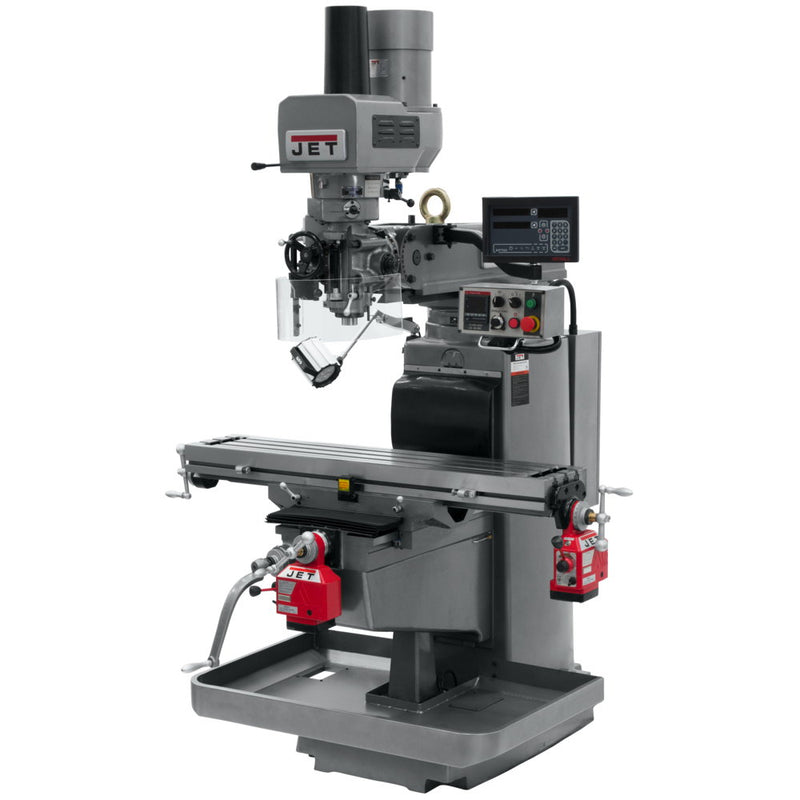 Jet 690647 JTM-1050EVS2 Mill With 3-Axis Quill, Newall DP700, X & Y Powerfeed, Air Powered Draw Bar