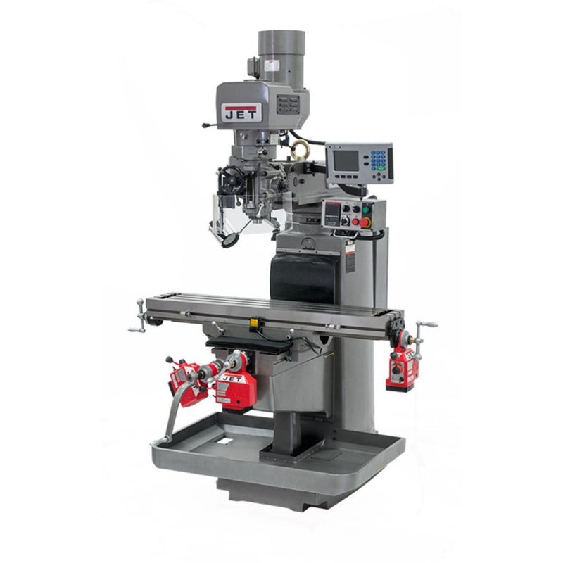 Jet 690680 JTM-1050EVS2 Mill With 3-Axis Knee, AcuRite 300S, X, Y & Z Powerfeed, Pneumatic Draw Bar