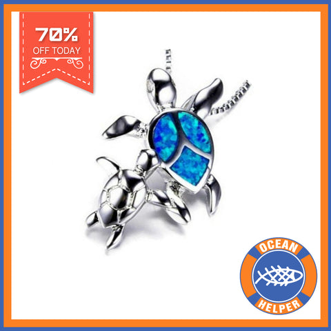 Opal Ocean Turtle Family Necklace Offer