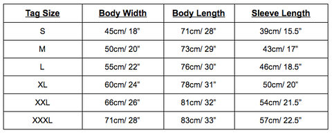 Adult's T Shirt Sizes