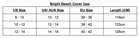 Bright Beach Cover Up Size Chart