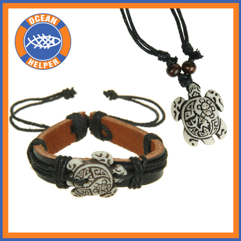 Carved Turtle Jewelry Set
