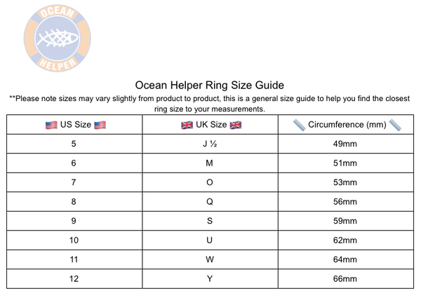 Ocean Helper Ring Size Guide