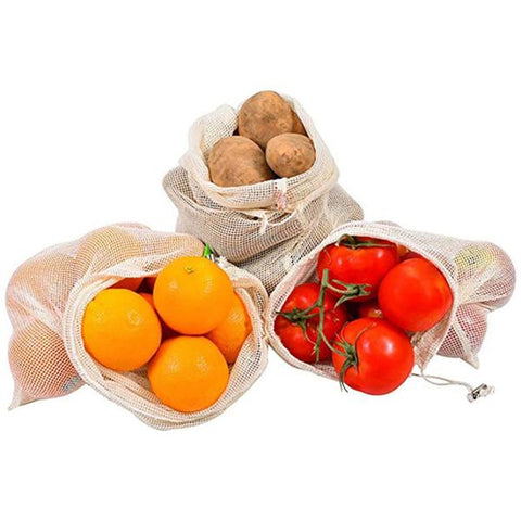 10 Organic Cotton Mesh Grocery Bags - OceanHelper