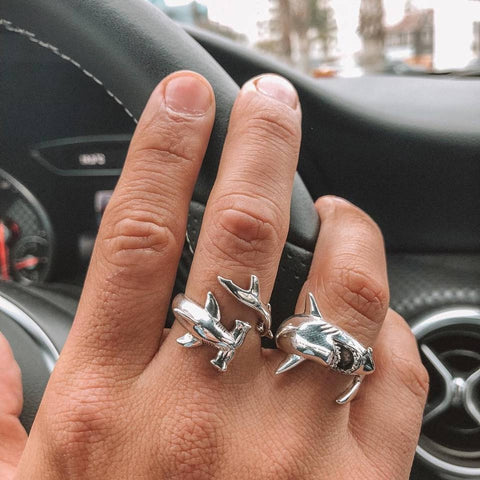 Shark Rings - Hammerhead & Great White Pair - OceanHelper