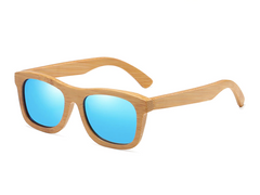 Bamboo Sunglasses - Blue Lenses