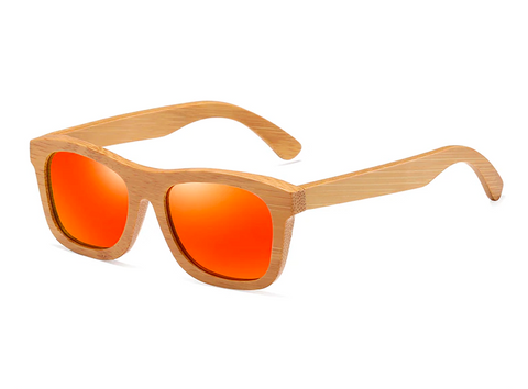 Bamboo Sunglasses - Red Lenses