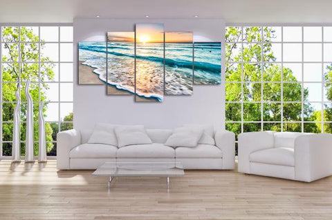 Beach Sunset 5 Panel Framed Canvas Wall Art - OceanHelper