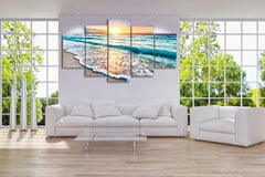 Beach Sunset 5 Panel Framed Canvas Wall Art