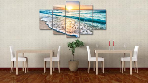 Beach Sunset 5 Panel Canvas Wall Art - OceanHelper
