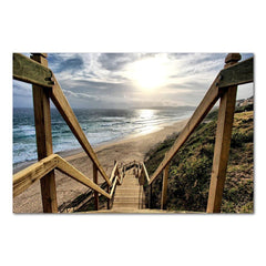 Beach Walk Framed Canvas Wall Art - OceanHelper
