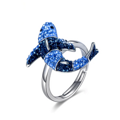 Blue Crystal Shark Ring - OceanHelper