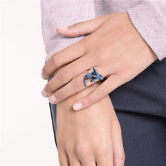 Blue Crystal Shark Ring