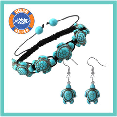Carved Stone Sea Turtle Bracelet + Earrings - OceanHelper
