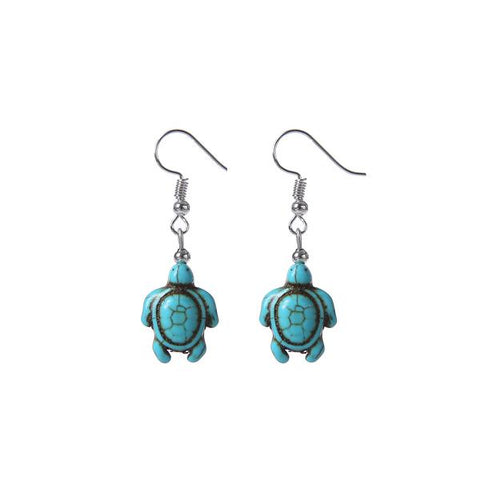 Carved Stone Sea Turtle Earrings - OceanHelper