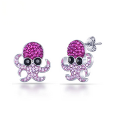 Cute Crystal Octopus Stud Earrings - OceanHelper
