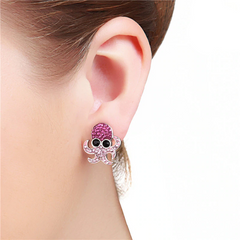 Cute Crystal Octopus Stud Earrings
